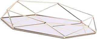 Flameer Jewelry Wire Decorated Display Plate Metal Storage Mirrored Glass Tray for Jewelry Shop/Household Decor - Gold