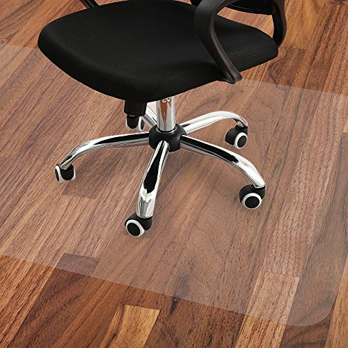 Office Chair Mat, Large 47x35 Inches Protector for Under Rolling Computer Chairs, Desk, and Table, Suitable for Hardwood Floors and Tiles, Non-Curve, Easy Glide, and Scuff Shield in Semi-White