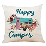 XUWELL Happy Camper with Flowers Cotton Linen Throw Pillow Cover, Camper Gifts for Women, 18 x 18 Inch Cushion Case for Sofa Bed Home RV Decor