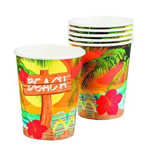 Amakando Copas Fiesta de Verano - 25 Cl | 6 Vasos de Cartón Fiesta en Playa | Ornamentación Fiesta de Caribe | Vajilla Desechable Fiesta Temática Hawái