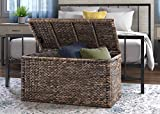 Click Décor Rustic Farmhouse Wicker Trunk, 33'' Lightweight Indoor/Outdoor Storage Container Ottoman, End of Bed Bench, Brown