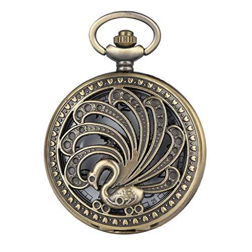 XJJZS Reloj de Bolsillo de Cuarzo de Pavo Real Antiguo Estilo Retro Collar de Belleza Hueco Colgante Regalo Creativo Reloj de Animales coleccionables de Arte