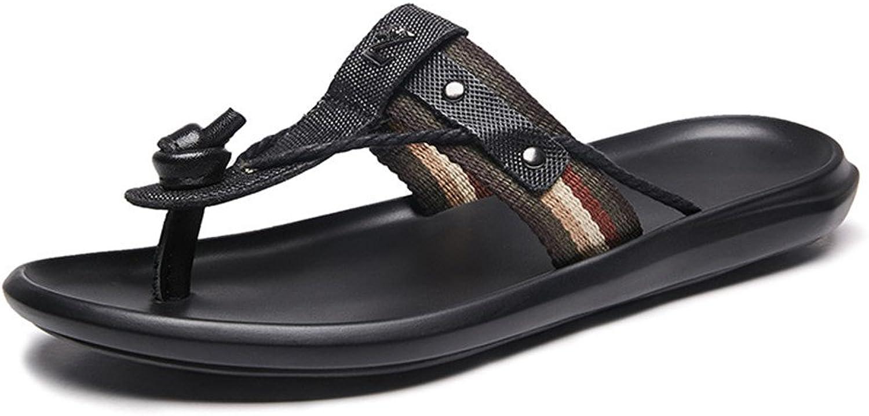 Mens Sandals, Men's Flip Flops with Braid Decor (color   Black, Size   9MUS)