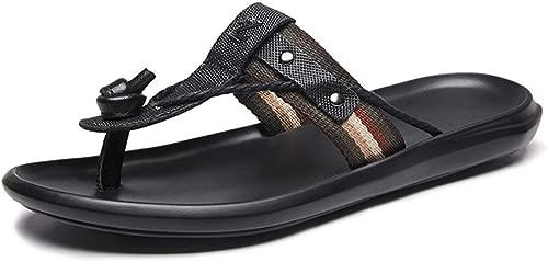 HANDHABUNG Herren Sandalen Thong Slipper Slide aus echtem Leder & Stoff Upper Metal Studded Decor