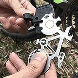 henai Chiave di Riparazione per Biciclette Acciaio Inossidabile per Esterni Strumento Multifunzionale Moschettone Strumento per Riparazioni per Bici Facile da Prendere