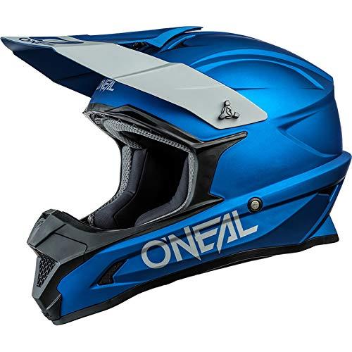 O'NEAL   Motocross-Helm   MX Enduro Motorrad   ABS-Schale, Sicherheitsnorm ECE 22.05, Lüftungsöffnungen für optimale Belüftung und Kühlung   1SRS Helmet Solid   Erwachsene   Blau   Größe M