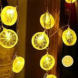 Pineocus Guirnalda de luces de fruta con rebanada de limón, cadena LED intermitente, funciona con pilas, para interiores y exteriores, se utiliza para bodas, cumpleaños, jardín y fiestas en el patio