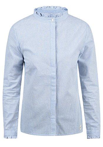 BlendShe Stella Damen Lange Bluse Hemdbluse Langarm Mit Stehkragen Und Streifen-Muster Aus 100% Baumwolle Loose Fit, Größe:XL, Farbe:Light Blue Stripe (20248)