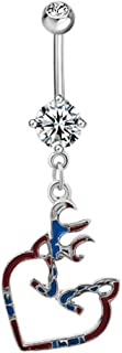 Heart Belly Button Sexy Cute Ring Dangle 316L Surgical Steel Body Piercing