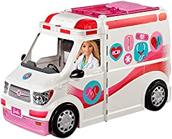 Barbie Care Clinic Vehicle Playset, Ambulance with Rolling Wheels Transforms into a Hospital Playset with Lights and...