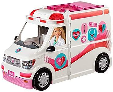 Barbie FRM19 - Ambulancia 2 en 1, vehículo plegable con luces y sonidos, juego con accesorios, juguetes para niñas a partir de 3 años