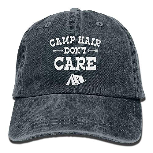Camp Hair Don't Care Happy Glamper Glamping Denim Hat Men Baseball Cap