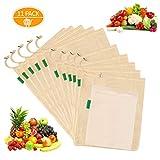 GVOO Obst-und Gemüsebeutel aus Bio-Baumwolle,Wiederverwendbare Produce Taschen,Einkaufsnetz baumwollbeutel Brotbeutel,Eco-Friendly Net Bags für Lebensmitteleinkauf und Lagerung-11pack L.M