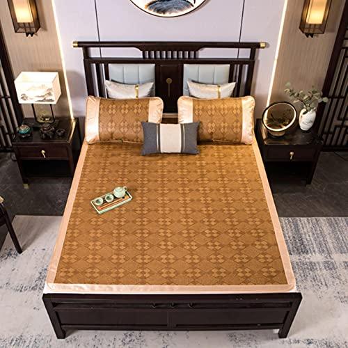 ASHY Verano reciclado de fibra de malla de ajuste de cama conjunto de sábanas de café ratán/paja estera geométrica colchas