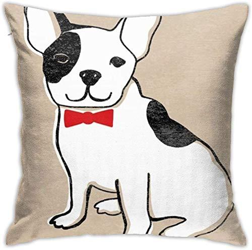 BONRI Fundas de Almohada Funda de Almohada Cuadrada Decorativa Suave y Fresca Funda de cojín de Perro Bulldog francés para sofá Dormitorio Coche 18×18inch
