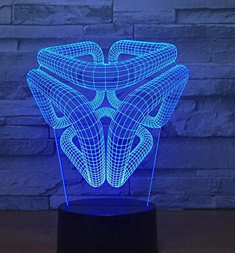 3D Lámpara de visual Ilusión óptica Luz de noche para Niños Spiral hole mejor regalo de para niños y niñas Con carga USB, control táctil de cambio de color colorido