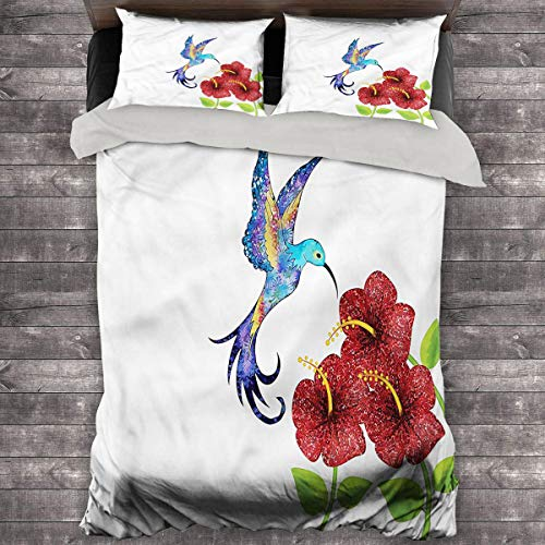 LanQiao Hummingbird Extra Large Duvet Cover Flower Garden Art. 89'x89' inch with Two Pillowcases