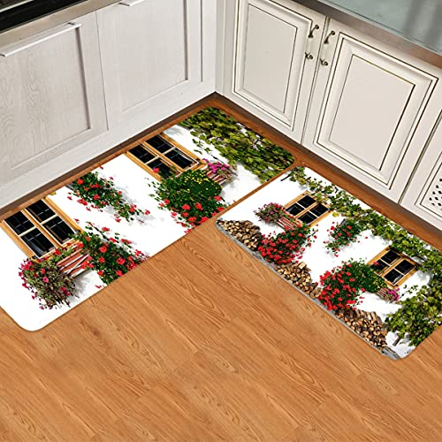 IDOWMAT Kitchen Rugs Set of 2 Flowers and Firewood Outside The Window Kitchen Rugs and Mats Non-Slip Washable Low Profile Doormats Home Decor Indoor Floor Mats for Entryway Sink Stove Kitchen Office