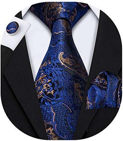 Barry Wang Men Blue Paisley Tie Silk Tie Pocket Square Cufflinks Set Mens Necktie Set product image