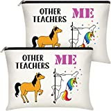 2 Pieces Teachers Gifts for Women, Unicorn Makeup Bags Appreciation Graduation Gifts for Teachers Personalized Cosmetic Cases Portable Storage Bag with Zipper (White, Other Teachers Me)