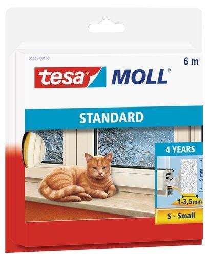tesamoll STANDARD I-Profil - Schaumstoffdichtung zum Isolieren von Spalten im Haushalt, selbstklebend - Weiß - 6 m x 9 mm x 4 mm