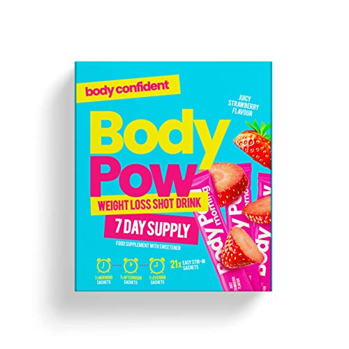 Body Pow Strawberry Weight Loss Shots With Clinically Approved Glucomannan Fibre for Appetite Reduction. Fat Loss and Energy Formula, Vegan safe, Hunger-Busting Drinks