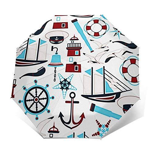 Regenschirm Taschenschirm Kompakter Falt-Regenschirm, Winddichter, Auf-Zu-Automatik, Verstärktes Dach, Ergonomischer Griff, Schirm-Tasche, Sextant Nautical Flat Anchor