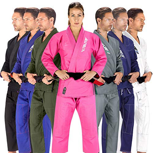 Elite Sports BJJ GI for Women IBJJF Kimono BJJ Jiujitsu GIS W/Preshrunk Fabric & Free Belt (See Special Sizing Guide) (Pink, WA2)