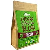BodyMe Bio Vegan Protein Pulver Mischung | Roh Kokosnuss Himbeere | 1kg UNGESÜßT | Kohlenhydratarm | Glutenfrei | 20g Pflanzliches Proteine | Mit 3 Veganes Proteinpulver Alle Essentiellen Aminosäuren -