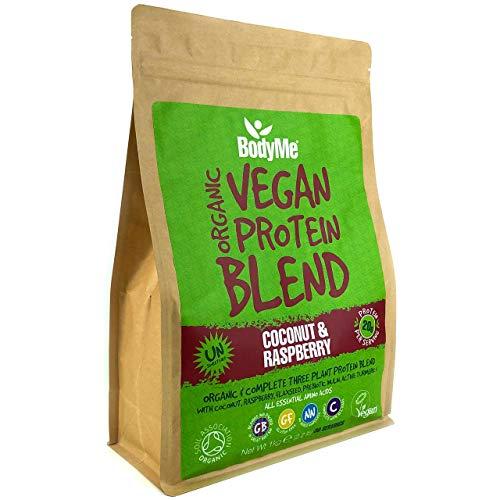 BodyMe Mezcla de Proteina Vegana Organica en Polvo | Crudo Coco Frambuesa | 1kg | Sin Edulcorante | Baja Carb | Sin Gluten | 3 Proteinas Veganas | 20g Proteina Vegetal Completa Aminoacidos Esenciales