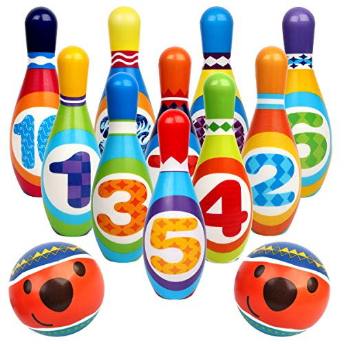 Vanmor Kids Bowling Set Toy, Toddlers Educational Toys with 10 Bowling Pins & 2 Balls, Indoor & Outdoor Games Birthday Party Gifts for Preschooler 3 4 5 6 Years Old Boys Girls