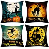 """Whaline 4 Pieces Halloween Pillow Case, Scary Night Trick or Treat Pillow Cover, Happy Halloween Linen Sofa Bed Throw Cushion Cover Decoration (18"""" x 18"""")"""