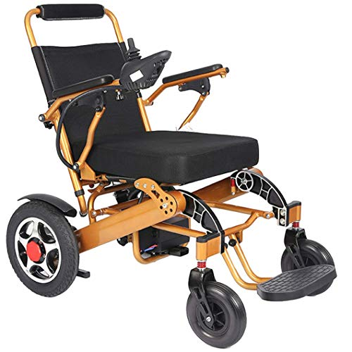 GYPPG Sillas de Ruedas Silla de Ruedas autopropulsada de Servicio Pesado Plegable con una tecla eléctrica, sillas de Viaje de tránsito con amortiguación de Vibraciones, Silla de Ruedas eléctrica o