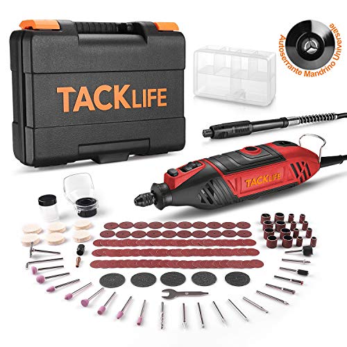 TACKLIFE Rotary Tool Kit, 135W Upgraded Powerful Motor with Variable Speed Control, 150pcs Rotary Tool Accessories with MultiPro Keyless Chuck & Flex...