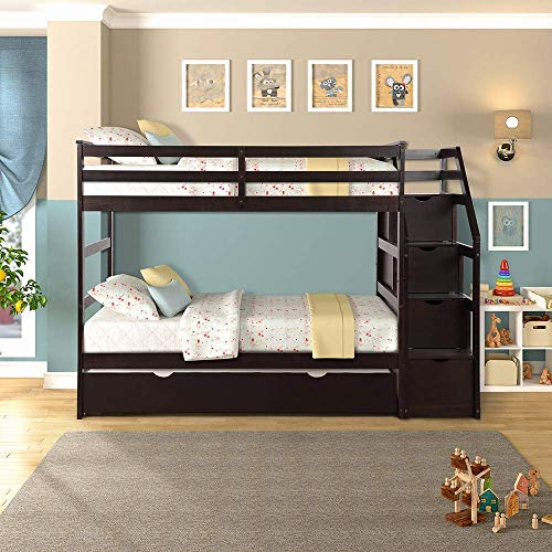 Best Deals! Romatpretty Solid Kids, Hard Wood Bunk Bed with 4 Drawers in The Steps and a Twin Trundl...