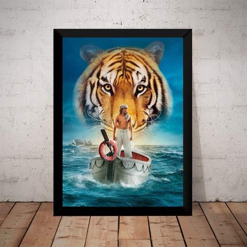 Quadro Filme As Aventuras De Pi Arte Tigre Poster Moldurado