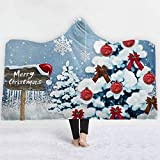 ZHEYANG Batamanta con Capucha Manta Sofa Manta de Tiro de Franela de Microfibra con Estampado de Copos de Nieve de Bola navideña Manta de Lana cálida y esponjosa Suave Model:G01509(Size:150x200cm)