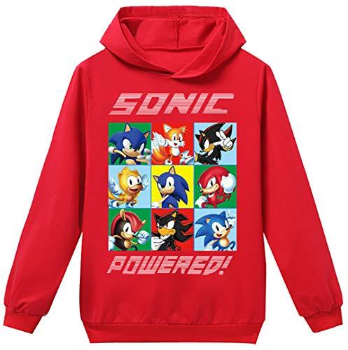 Silver Basic Niños 2D Impreso Sonic The Hedgehog Sudadera con Capucha Película Video Juego Sonic Cosplay Disfraz Sonic Shadow Sudadera Sonic Jumper 120,Rojo Sonic Cosplay-2