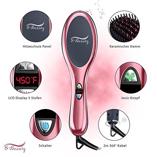 S-BEAUTY Keramische Haarglätter elektrische antistatische Ionische Glättbürste mit LCD-Display, 230°C max, Flexibler schwebender Bürstenkopf für besserer Kopfhaut Kontakt,rosa