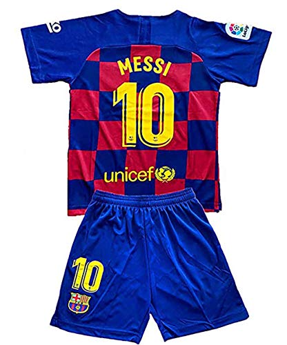 Messi Barcelona Jersey #10 Soccer T Shirt 2019-2020 Season Soccer Shirt fc Shirt for Kids (13-14Year/Size28, Messi-Home)