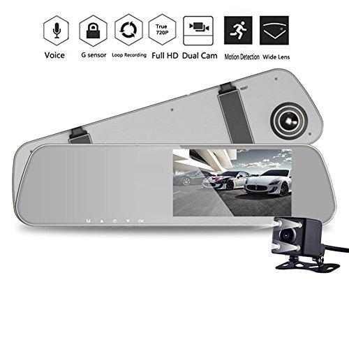 INRIGOROUS Dual Lens Dash Cam 4.3' Rearview Mirror Dash Cam Dual lens in Car Camera Black Box Car DVR Double Cameras Dashcams Car Video Recorder