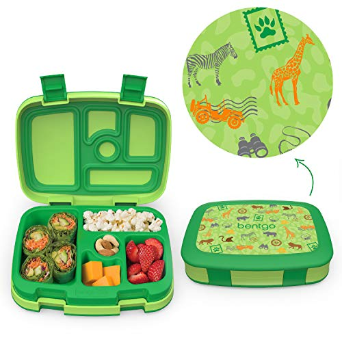 Bentgo Kids Prints Leak-Proof, 5-Compartment Bento-Style Kids Lunch Box - Ideal Portion Sizes for Ages 3 to 7 - BPA-Free, Dishwasher Safe, Food-Safe Materials (Safari)