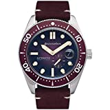SPINNAKER Men's Croft 43mm Red Leather Band Steel Case Sapphire Crystal Automatic Analog Watch SP-5058-09