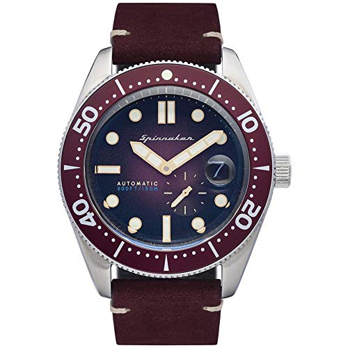 SPINNAKER Men's Croft 43mm Red Leather Band Steel Case Sapphire Crystal...