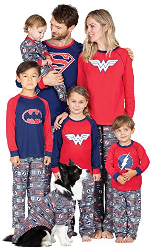 PajamaGram Justice League Family Pajama Sets, Red/Gray, Mens Medium