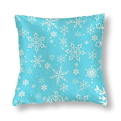 Perfecone Home Improvement - Funda de almohada de algodón para cama de matrimonio, diseño de copo de nieve, color azul claro, 1 paquete de 40 x 40 cm