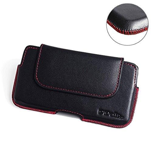 PDAir HTC Desire 530 Echtleder Handyhülle Tasche (Rot Stich), Leder Tasche mit Gürtelclip, Gürtel Hülle Handyhülle Hülle, Handarbeit Halfter Tasche Für HTC Desire 530 630