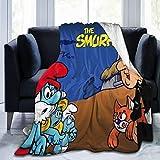 Die Schlümpfe Flanell-Überwurf-Decke, ultraweiche Tagesdecke aus Mikrofaser, Fleecedecke, langlebig, Heimdekoration, ideal für Couch, Sofa, Outdoor, 125 x 150 cm