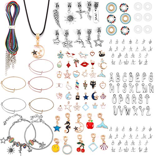 Veraing DIY Charms Bracelet Making Kit, Assorted Shape Charms Exquisite Pendant Adjustable Wire Bracelets for Necklaces Bracelet Jewelry Making Craft