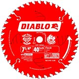 Freud D0740A Diablo 7-1/4 40 Tooth ATB Finishing Saw Blade with 5/8-Inch Arbor, Diamond Knockout, and...